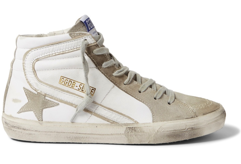 Golden Goose Deluxe Brand Distressed Leather And Suede High Top Sneakers