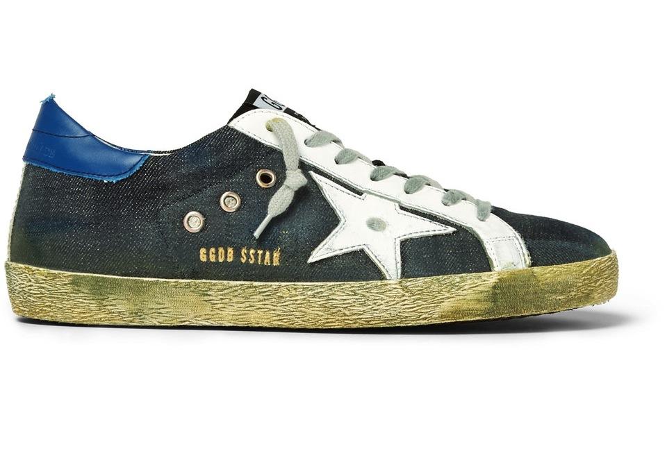 Golden Goose Deluxe Brand Superstar Distressed Leather Trimmed Denim Sneakers