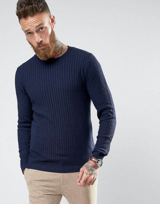 ASOS Jumper With Rib Details In Muscle Fit