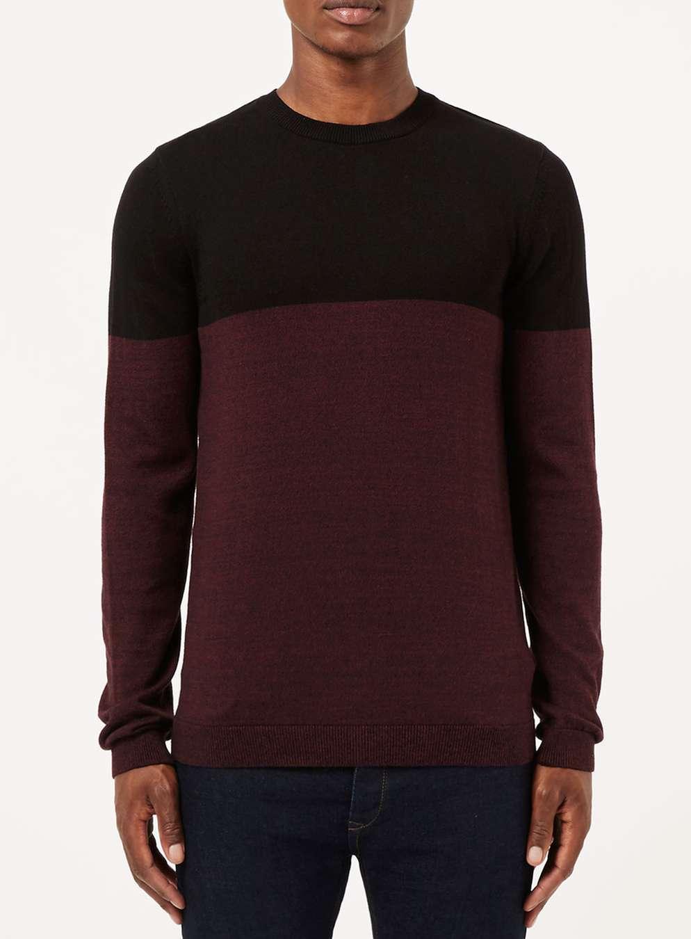 Topman Black And Burgundy Colour Block Jumper