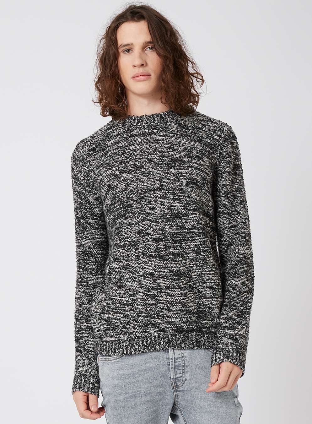 Topman Black And White Fuzzy Texture Slim Fit Jumper