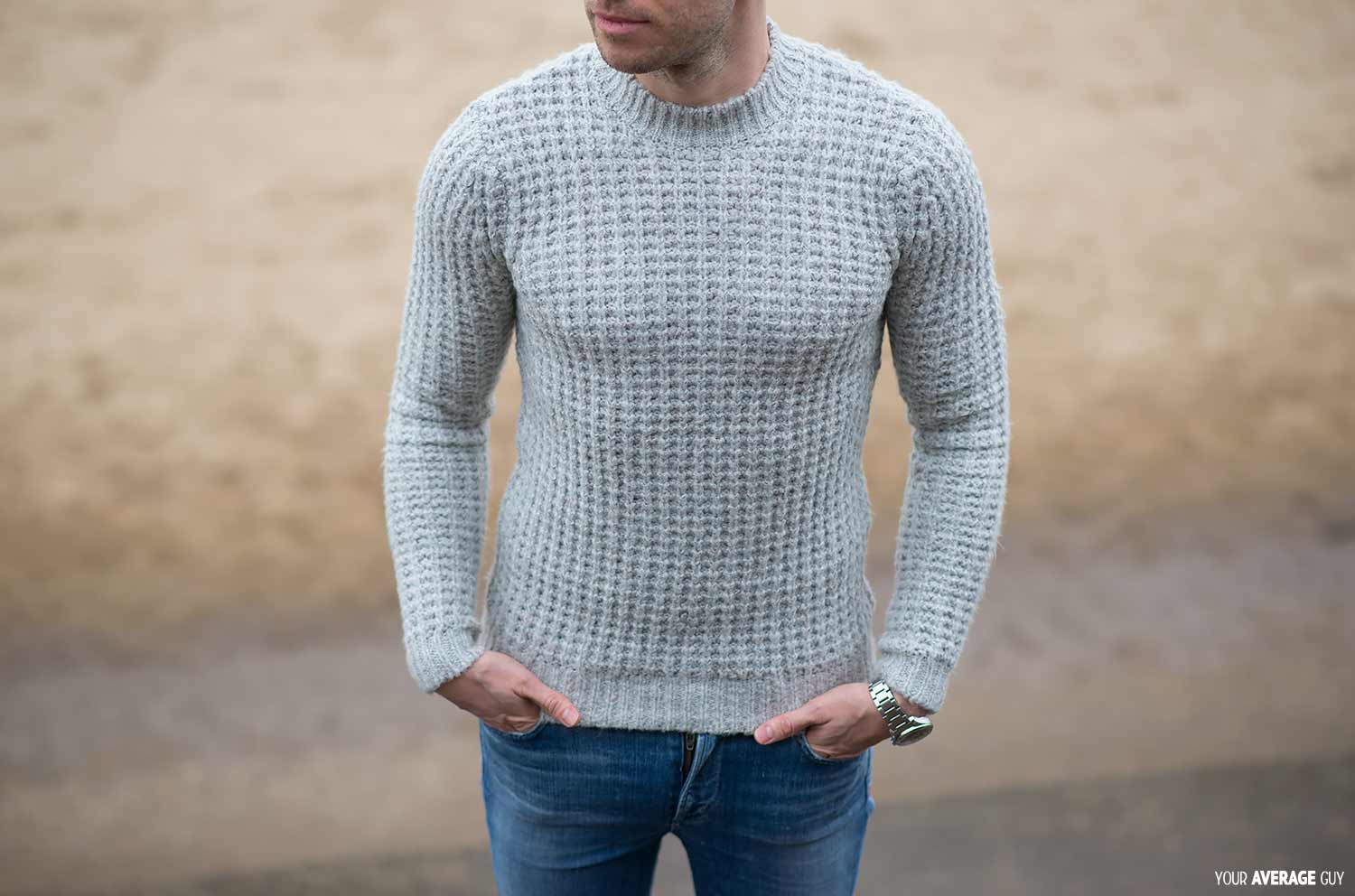 ASOS Heavyweight Jumper Sweater With Chunky Neck Trim Grey