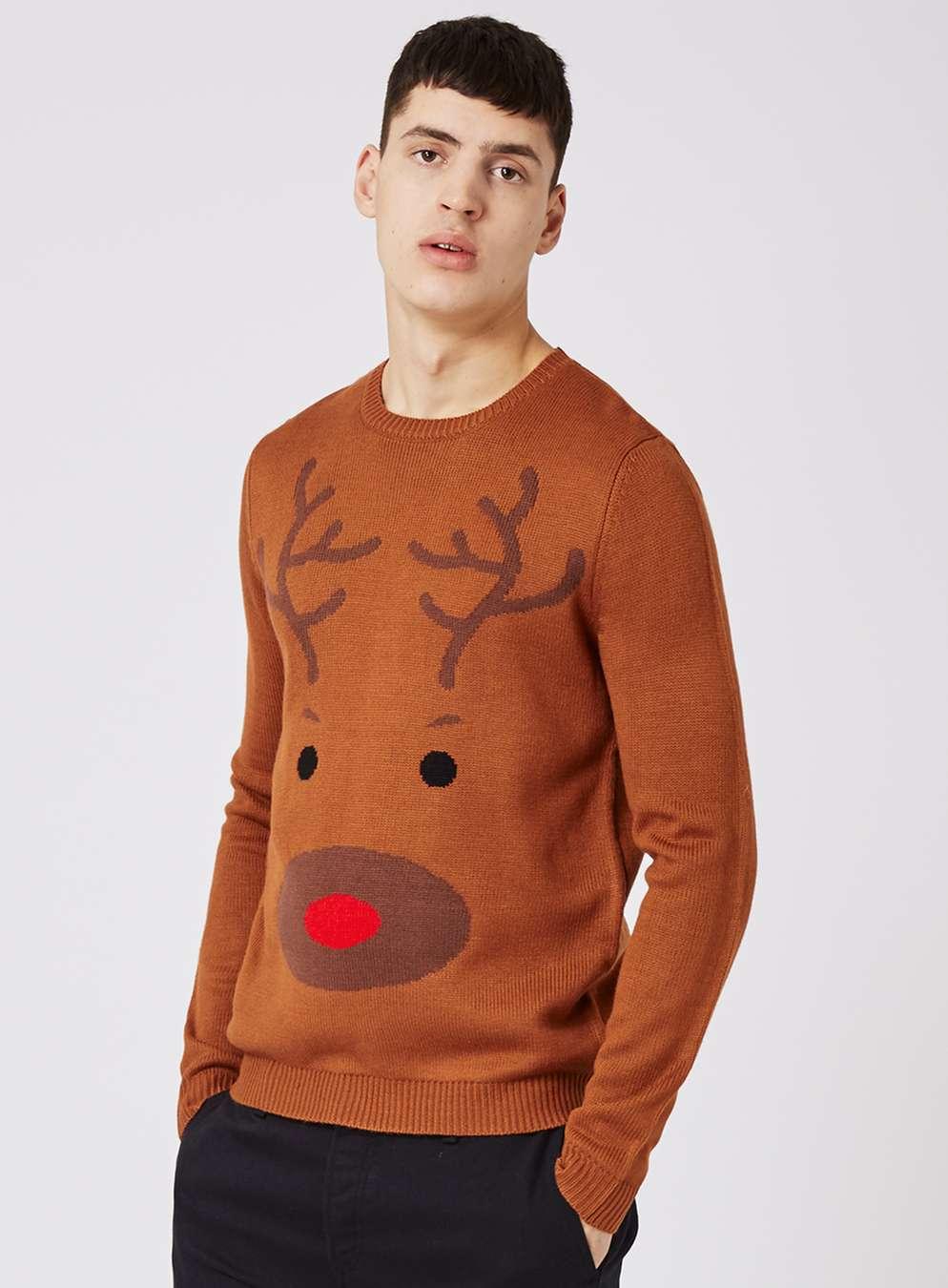 topman-brown-reindeer-face-christmas-jumper