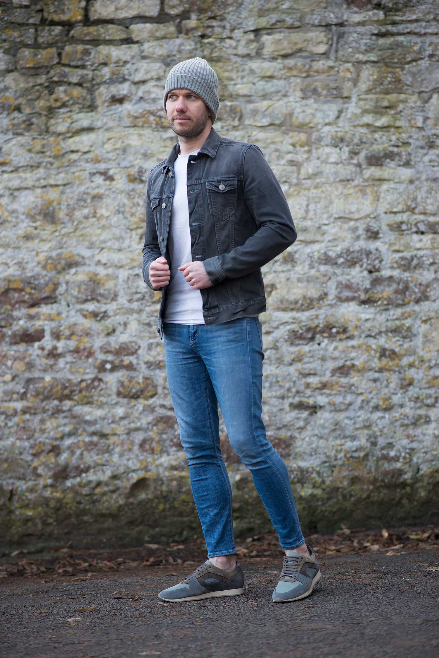 Allsaints Grey Denim Jacket And Womenu2019s Skinny Jeans Outfit   Your Average Guy