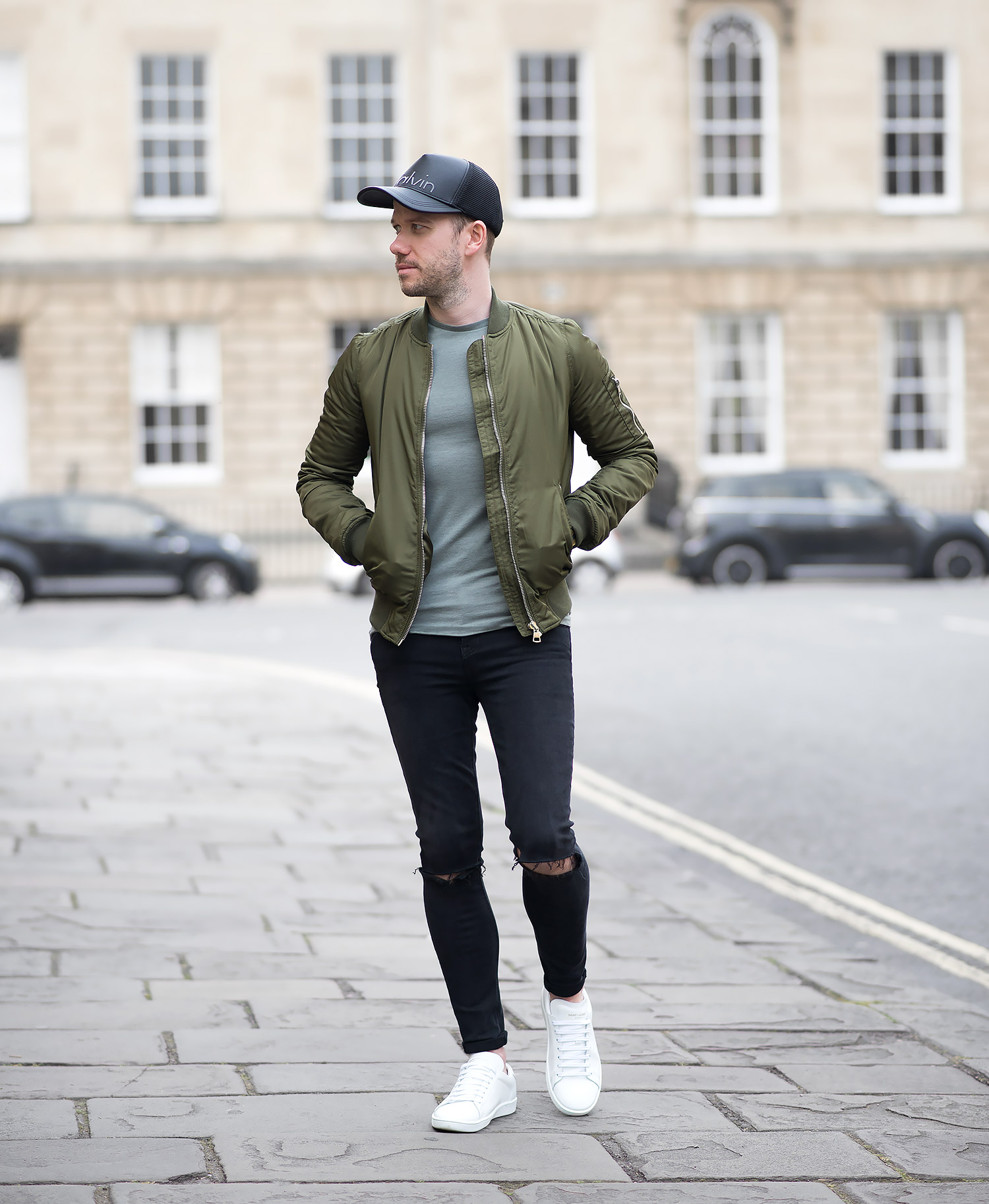 Topshop Green Bomber Jacket And Black Ripped Skinny Jeans ...
