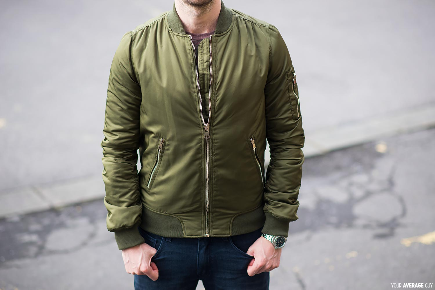 Topshop Green Tall MA1 Bomber Jacket