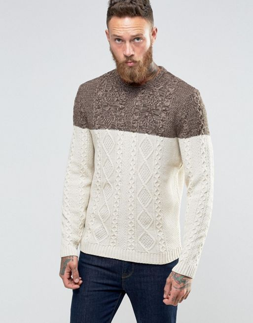 ASOS Cable Knit Jumper With Colour Block