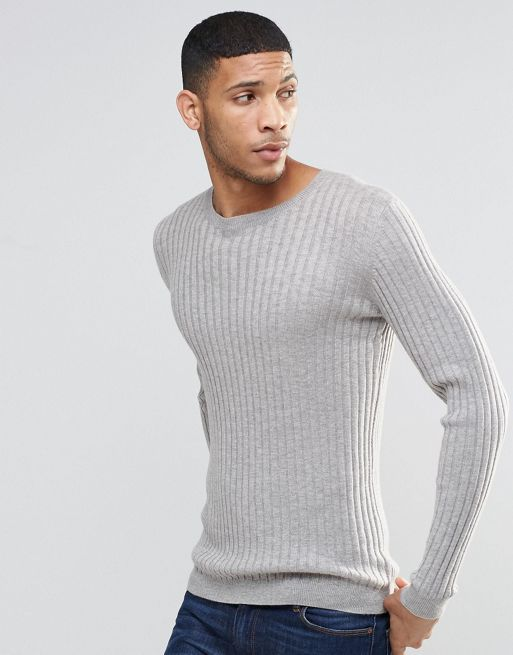ASOS Muscle Fit Ribbed Jumper In Grey