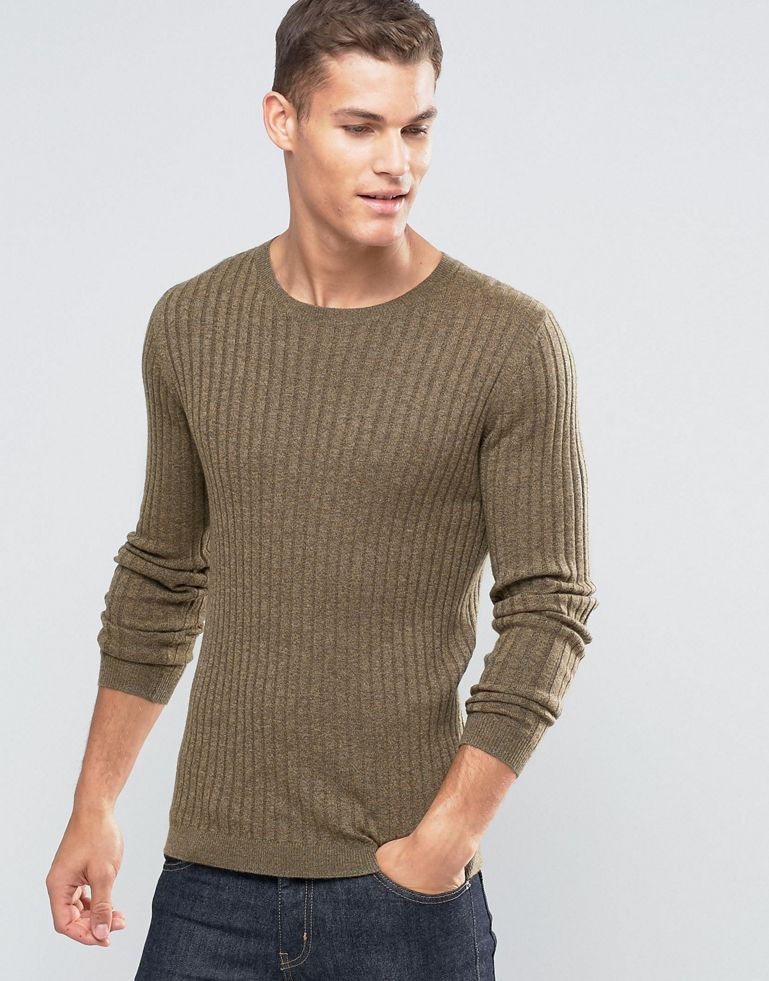 ASOS Muscle Fit Ribbed Jumper In Khaki