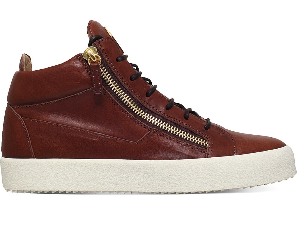 Giuseppe Zanotti Daniel Leather Mid Top Trainers