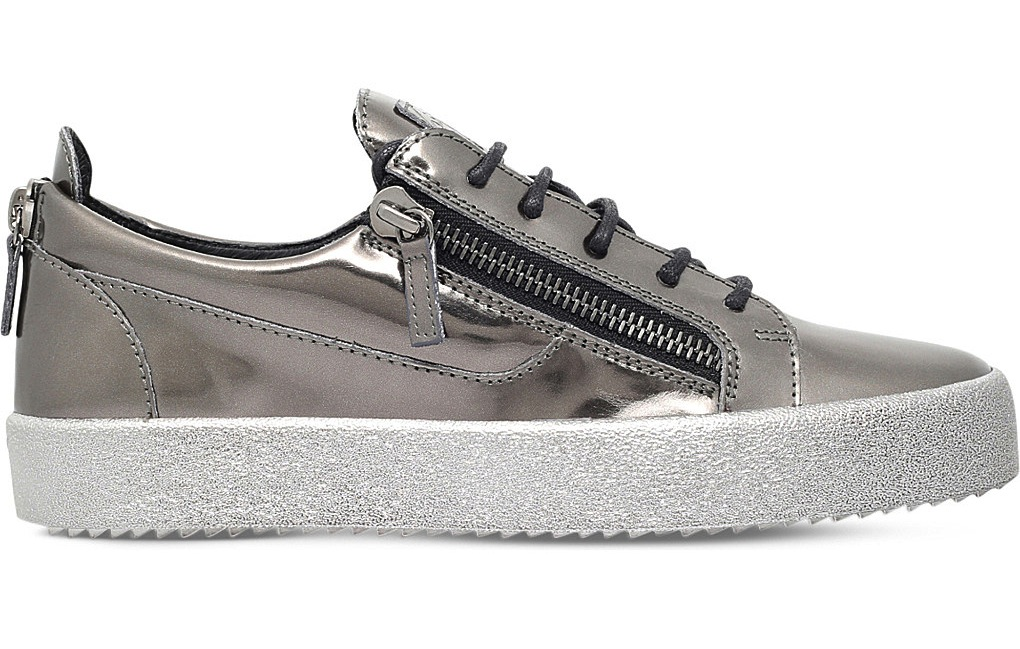 Giuseppe Zanotti Metallic Leather Low Top Trainers