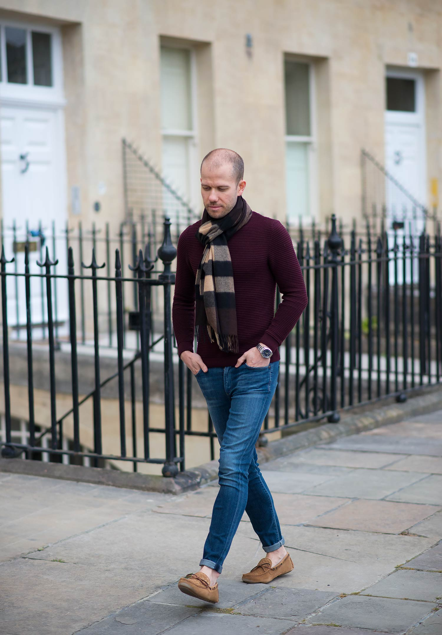 Mens Fashion Blog Burberry Scarf Jeans Bottega Veneta Outfit
