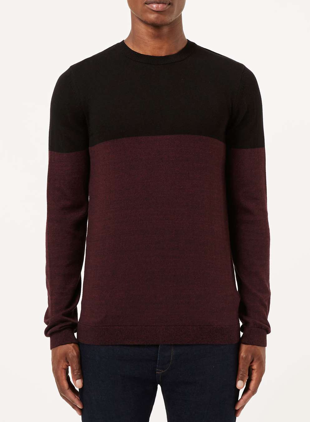 Topman Black And Burgundy Colour Block Jumper