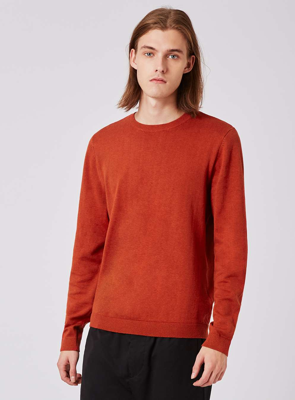 Topman Orange Slim Fit Crew Neck Jumper