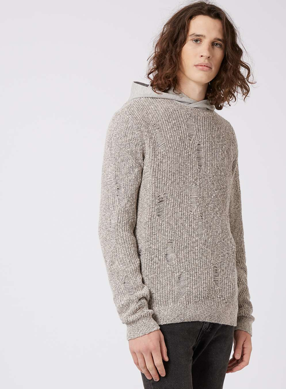 Topman Stone Twist Ripped Slim Fit Jumper