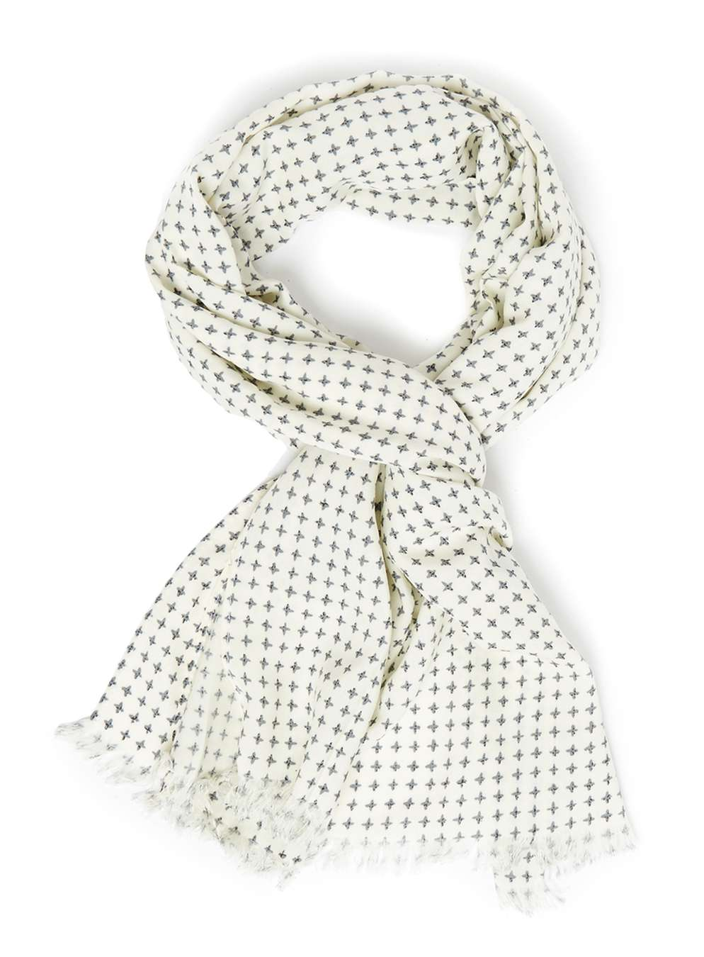 Topman White Printed Dress Scarf