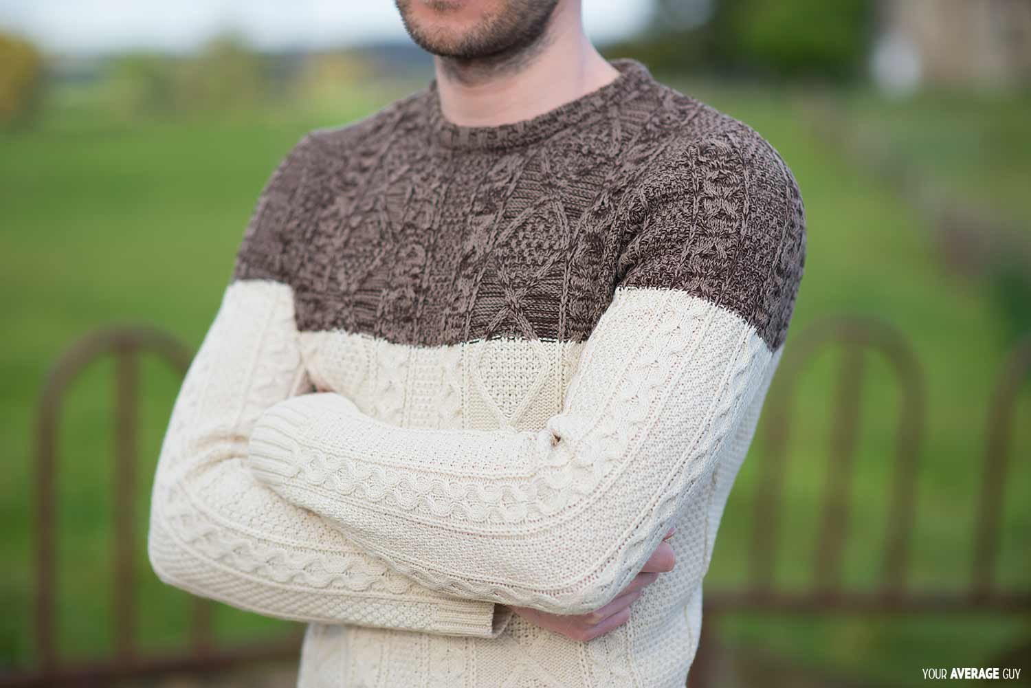 ASOS Cable Knit Jumper With Colour Block Brown Beige
