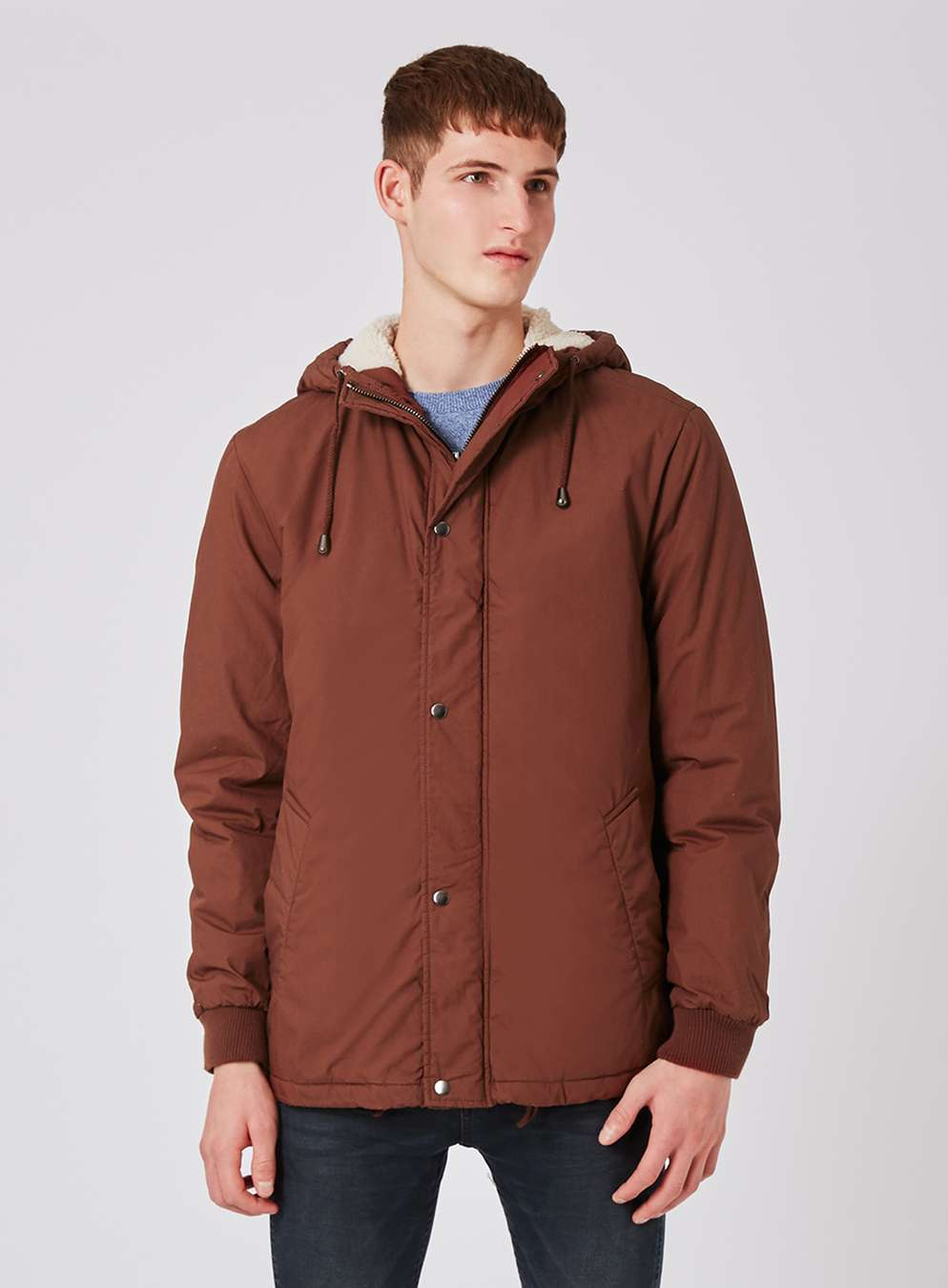 topman-brown-cropped-faux-shearling-lined-parka