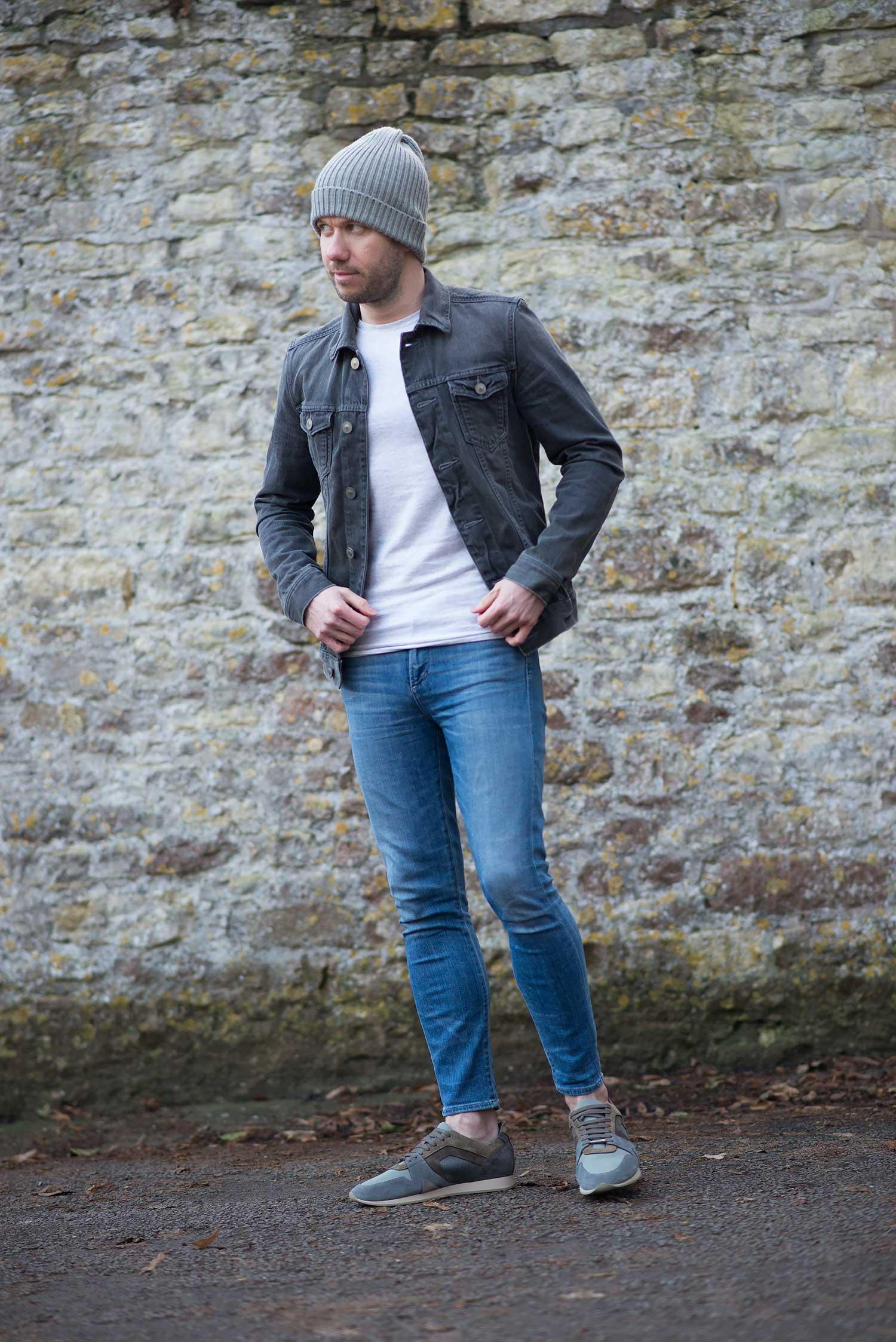 allsaints grey denim jacket and women's skinny jeans