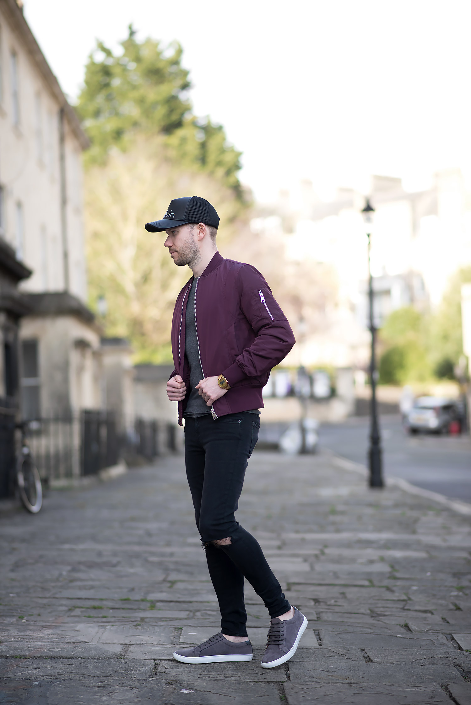 Calvin Klein Baseball Cap And Burgundy Bomber Jacket Outfit