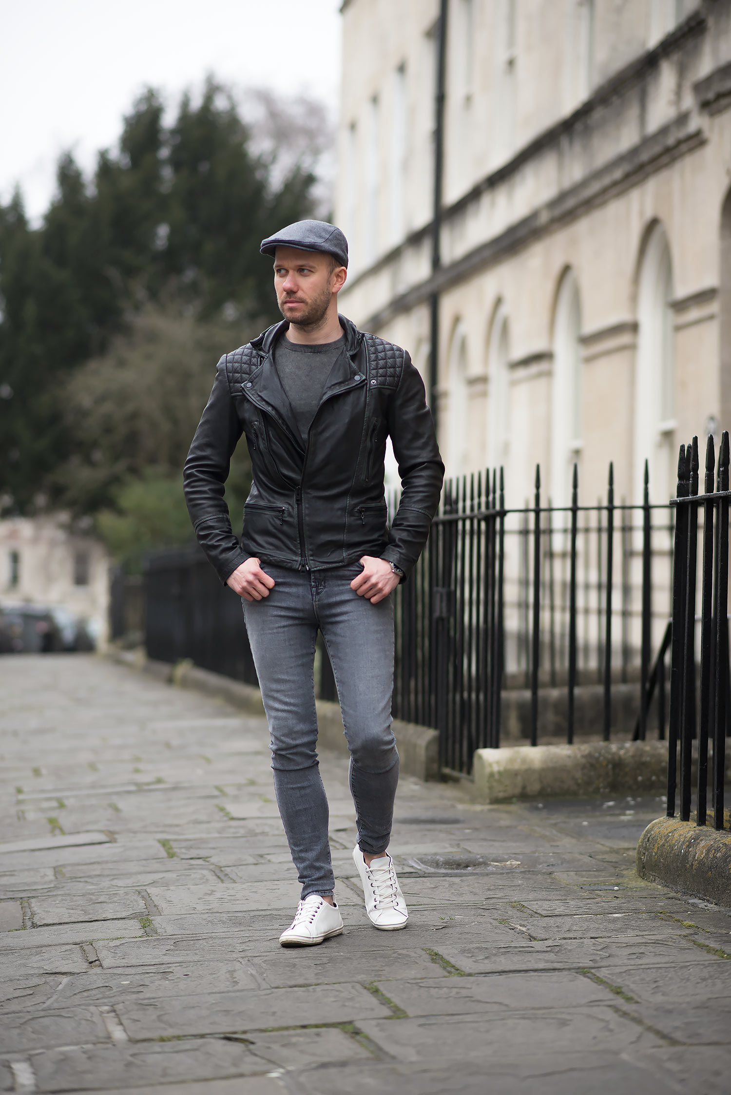 Allsaints Cargo Biker Leather Jacket And Flat Cap Outfit  f29961d94a6