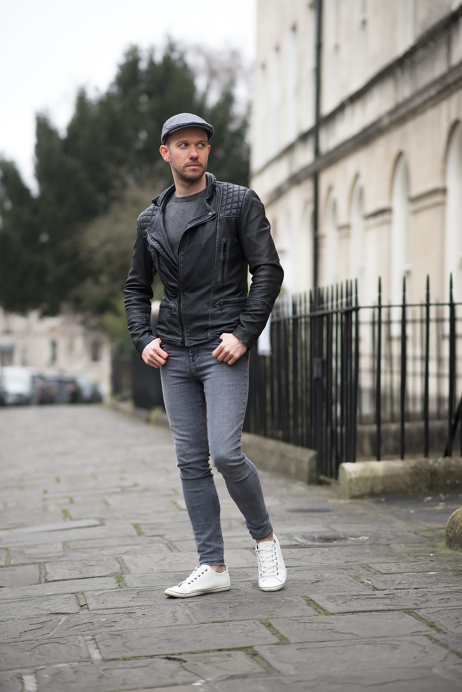 Allsaints Cargo Biker Leather Jacket And Flat Cap Outfit Your