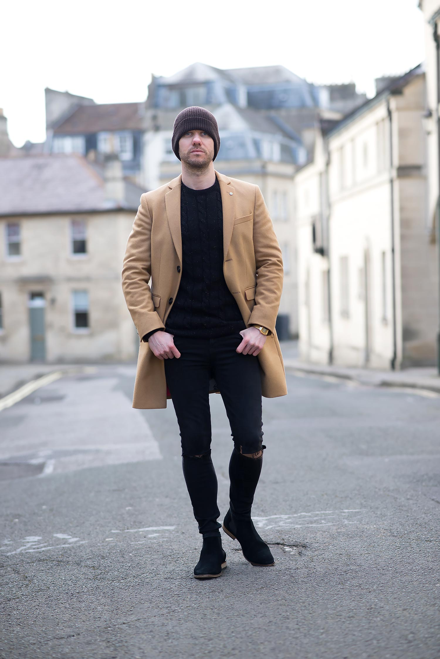 Noose & Monkey Camel Overcoat And Black Ripped Skinny ...