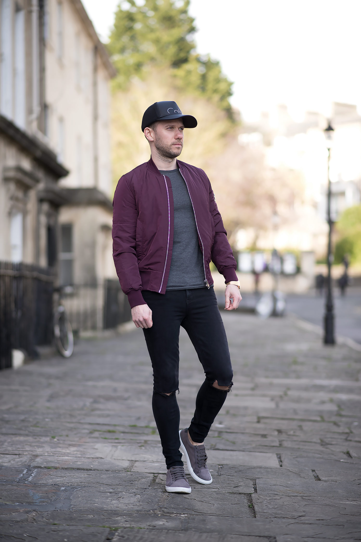 Mens-Fashion-Blog-Burgundy-Bomber-Jacket-Black-Ripped-Skinny-Jeans u2013 Your Average Guy
