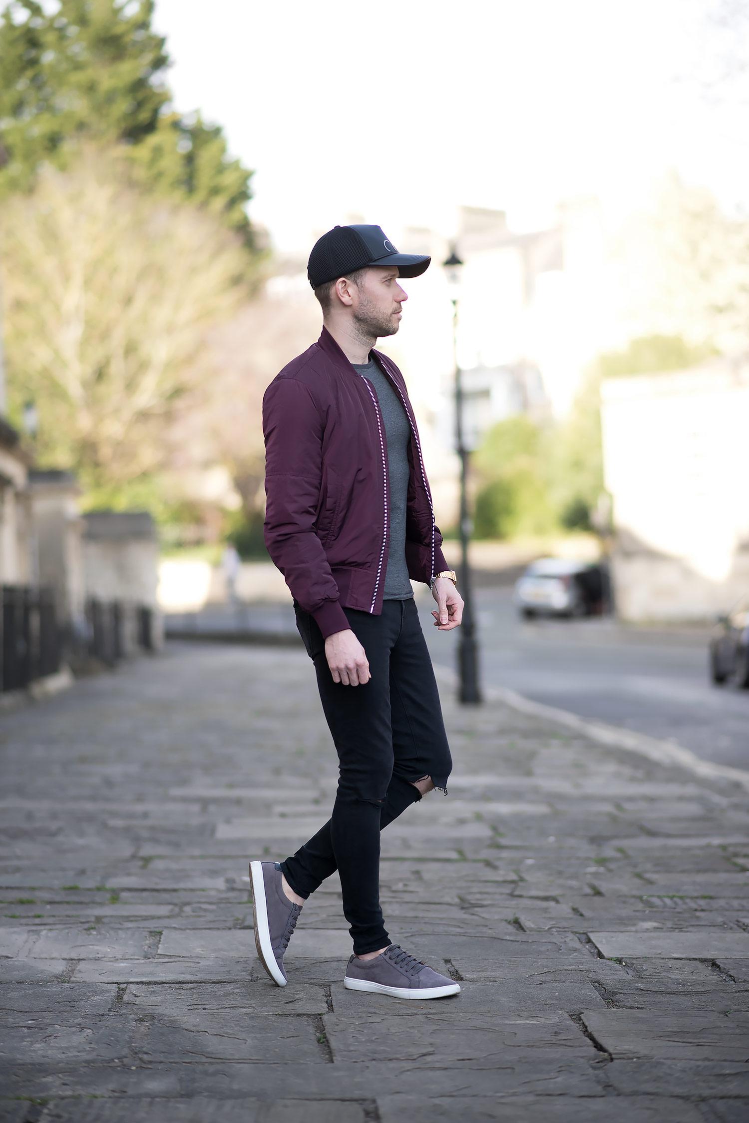 Mens Fashion Blogger Burgundy Bomber Jacket Calvin Klein