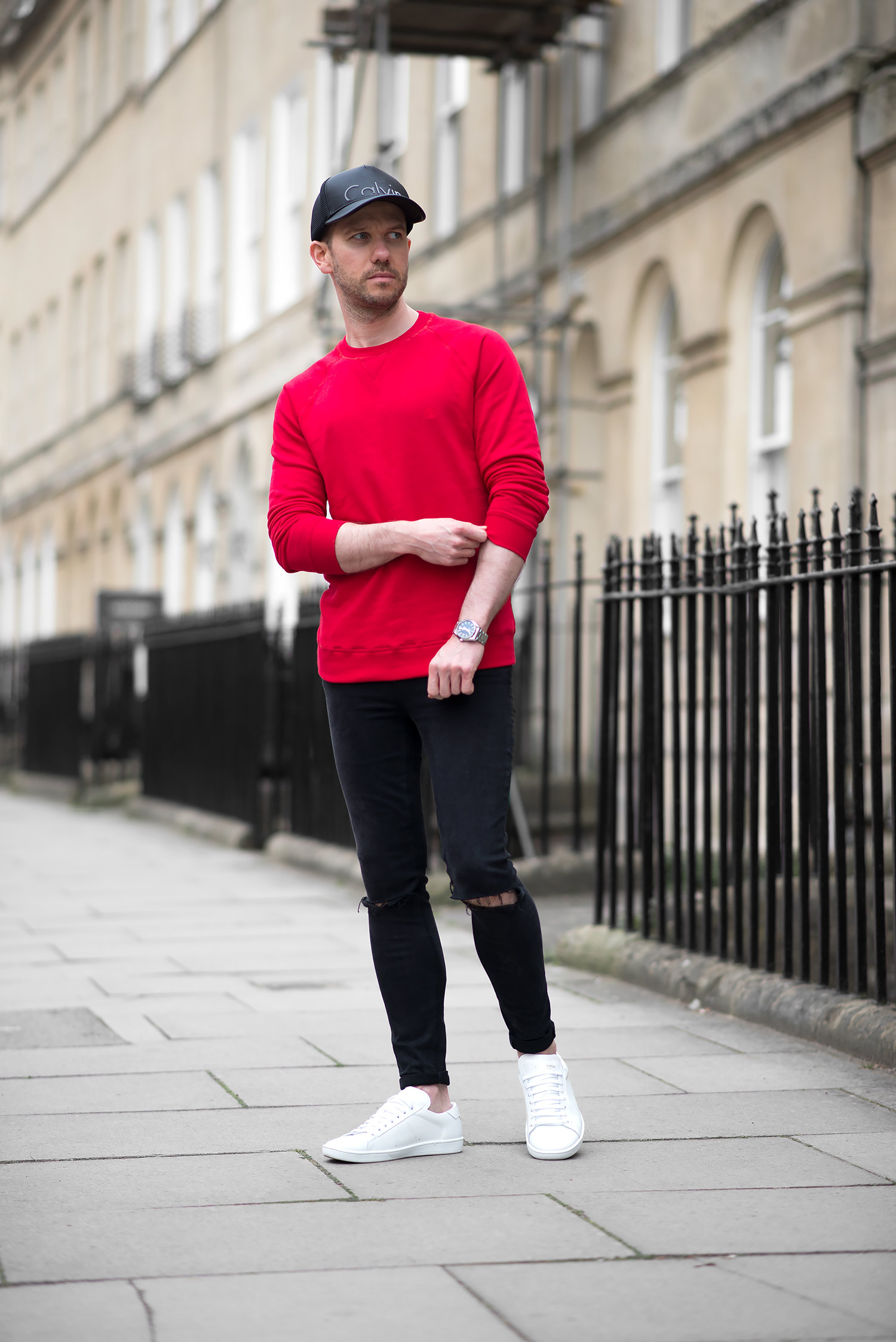 Tom Cridland Red Sweatshirt And Black Skinny Jeans Outfit | Your Average Guy