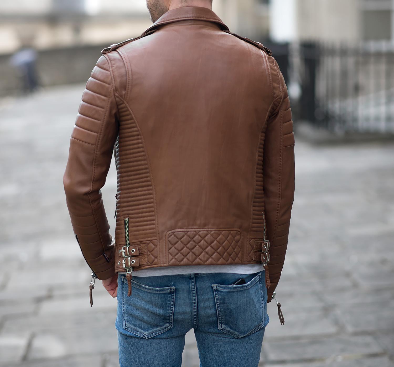 Boda Skins Antique Brown Kay Michaels Biker Leather Jacket