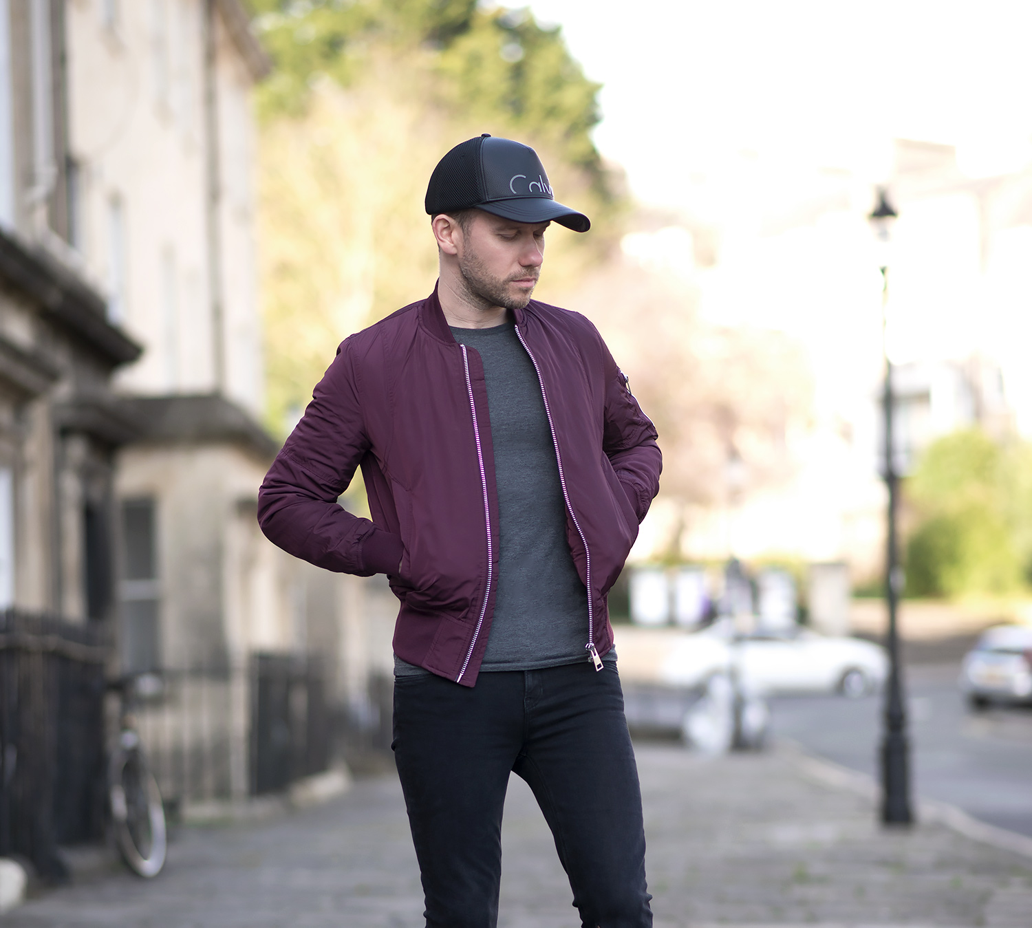 Mens Uk Fashion Blogger Asos Burgundy Bomber Jacket Calvin Klein Baseball Cap Brighter Use