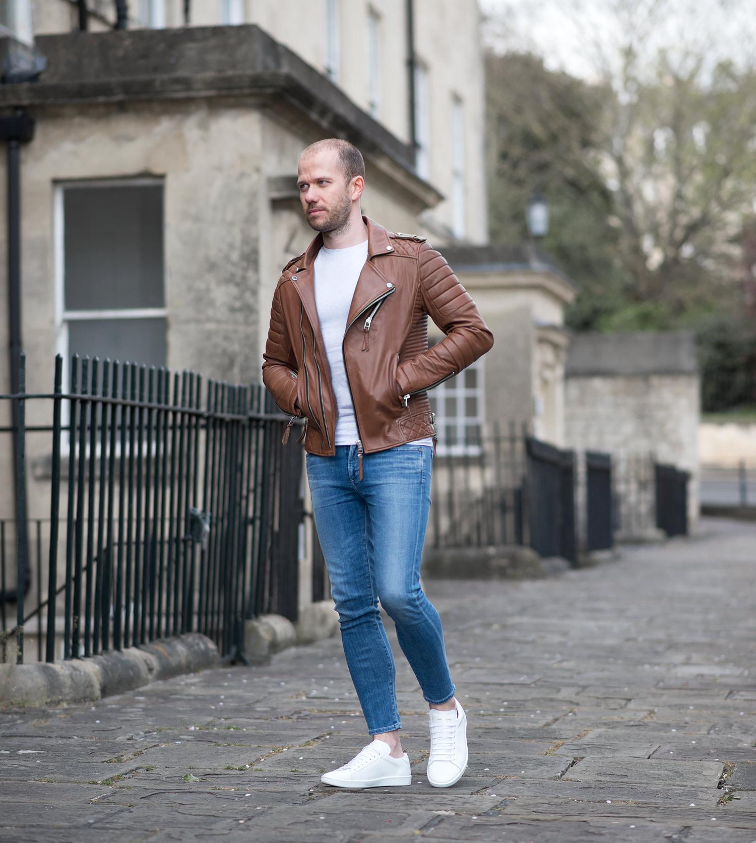 Mens Fashion Blogger Boda Skins Antique Brown Biker Leather Jacket