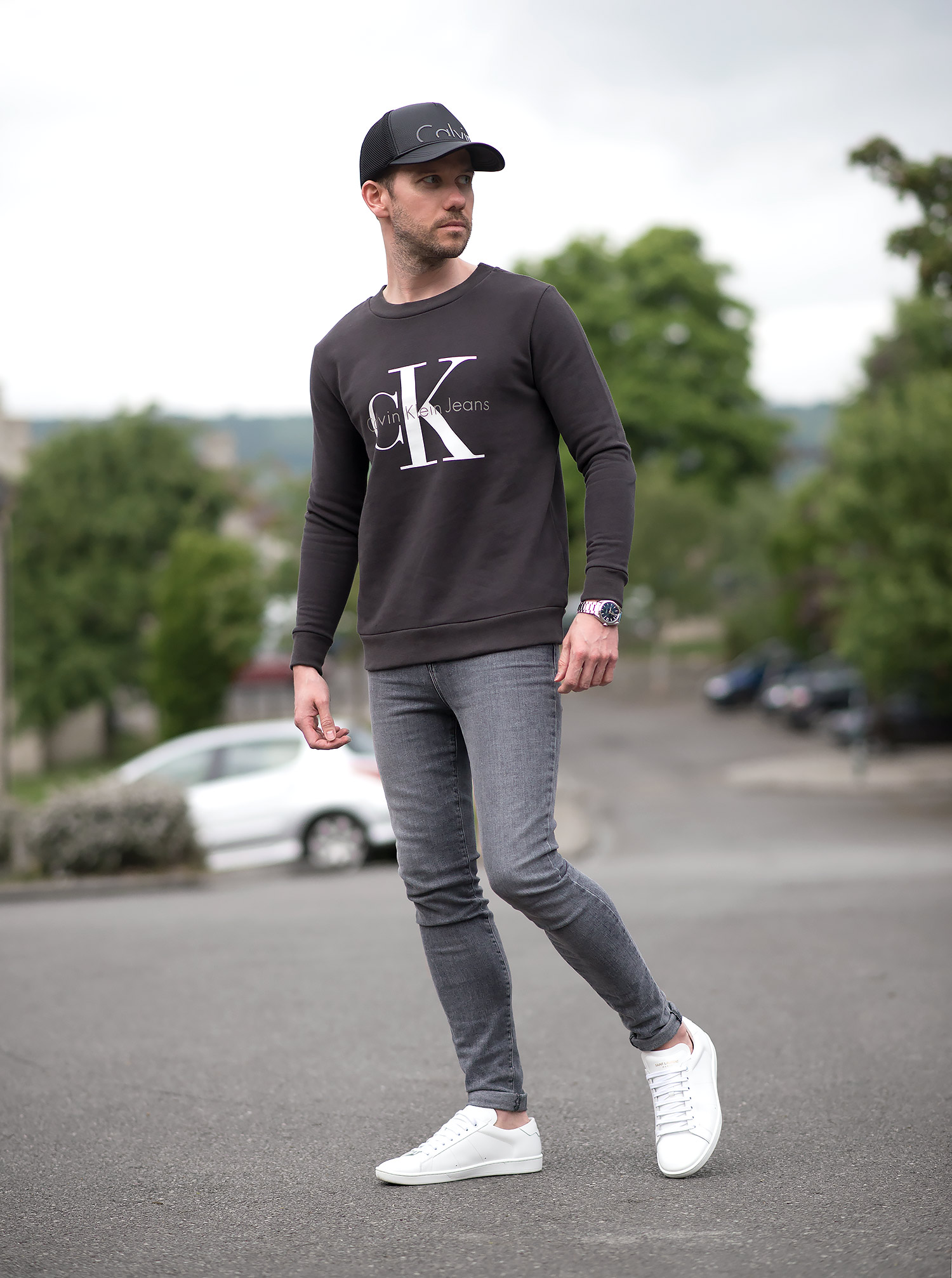 calvin klein sweatshirt and j brand grey skinny jeans. Black Bedroom Furniture Sets. Home Design Ideas