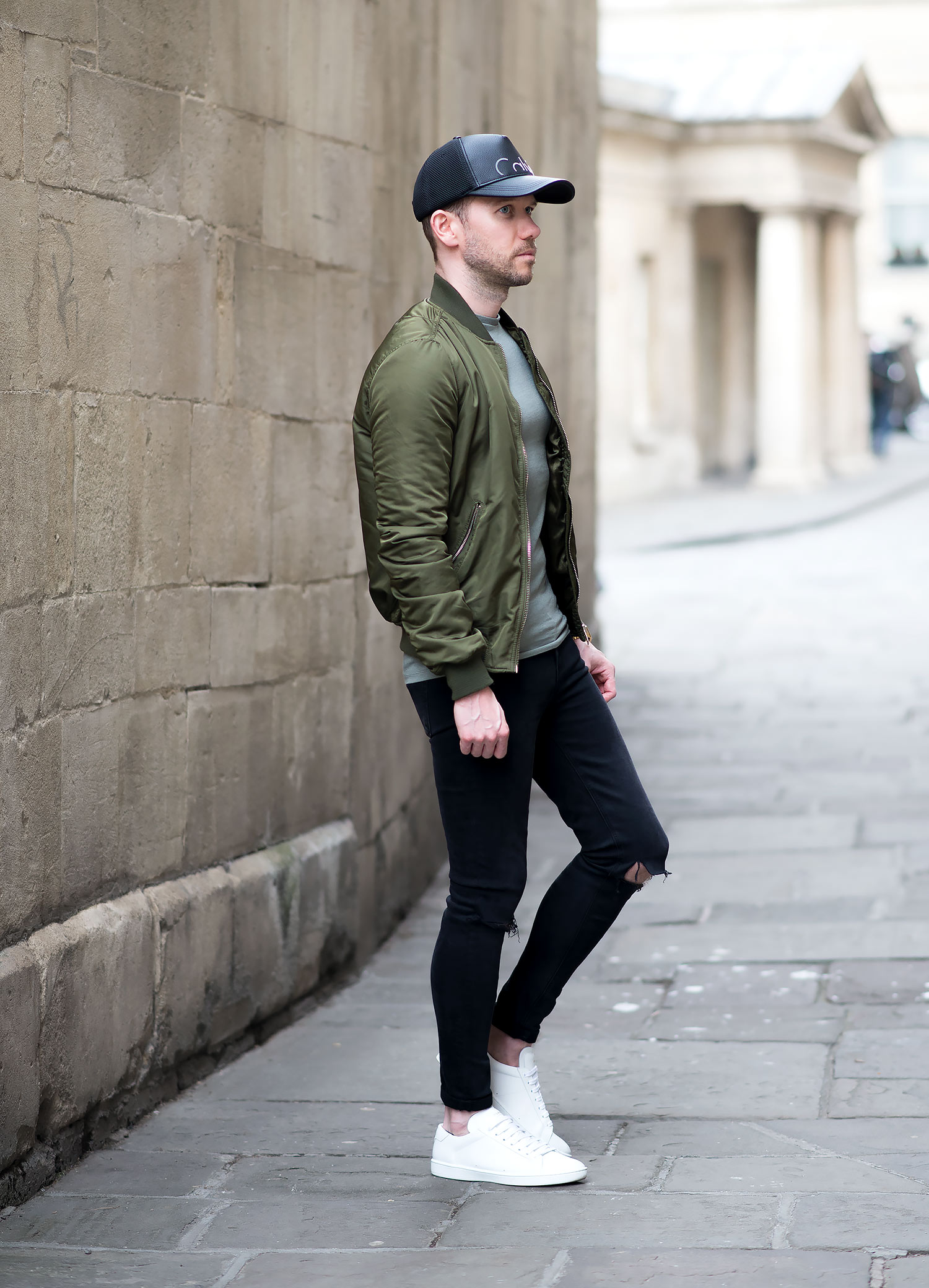 Topshop Green Bomber Jacket And Black Ripped Skinny Jeans Mens