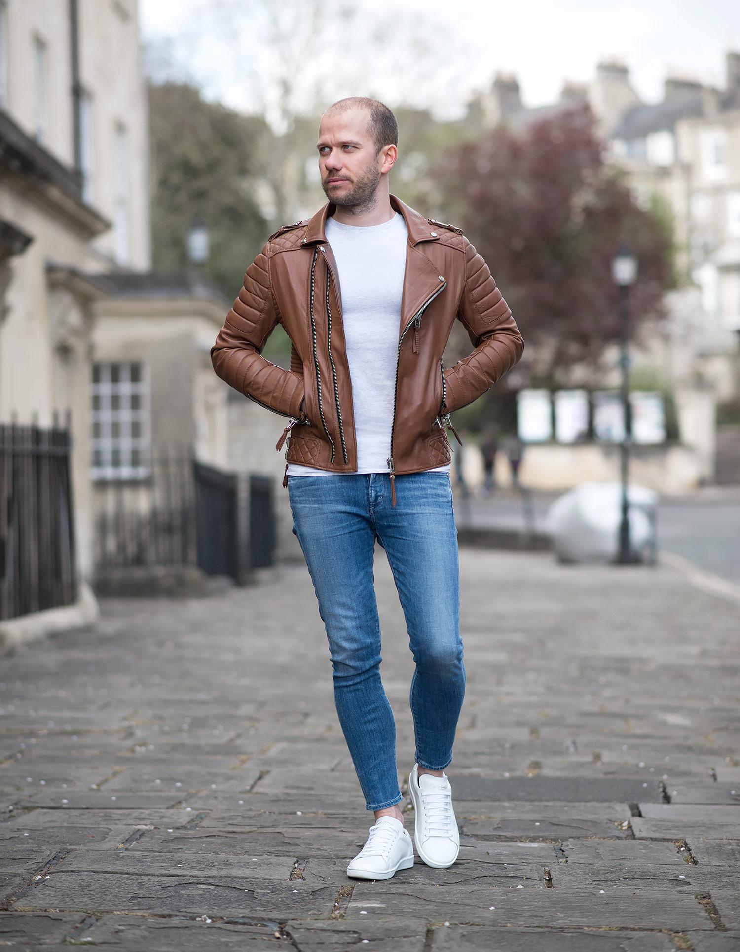 Leather biker jacket | Lederjacke männer, Street styles für