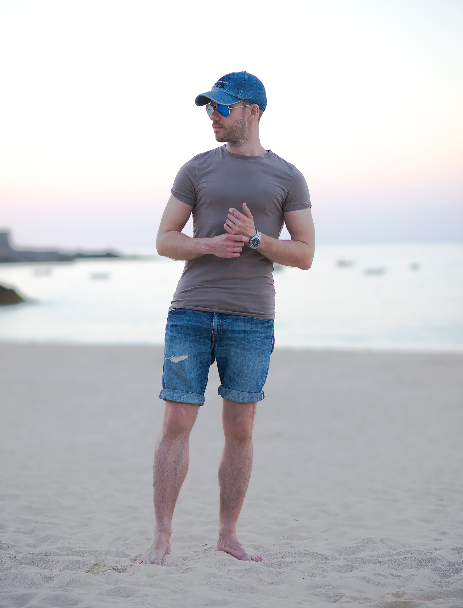 Levis Denim Shorts At Portminster Beach Outfit Your Average Guy