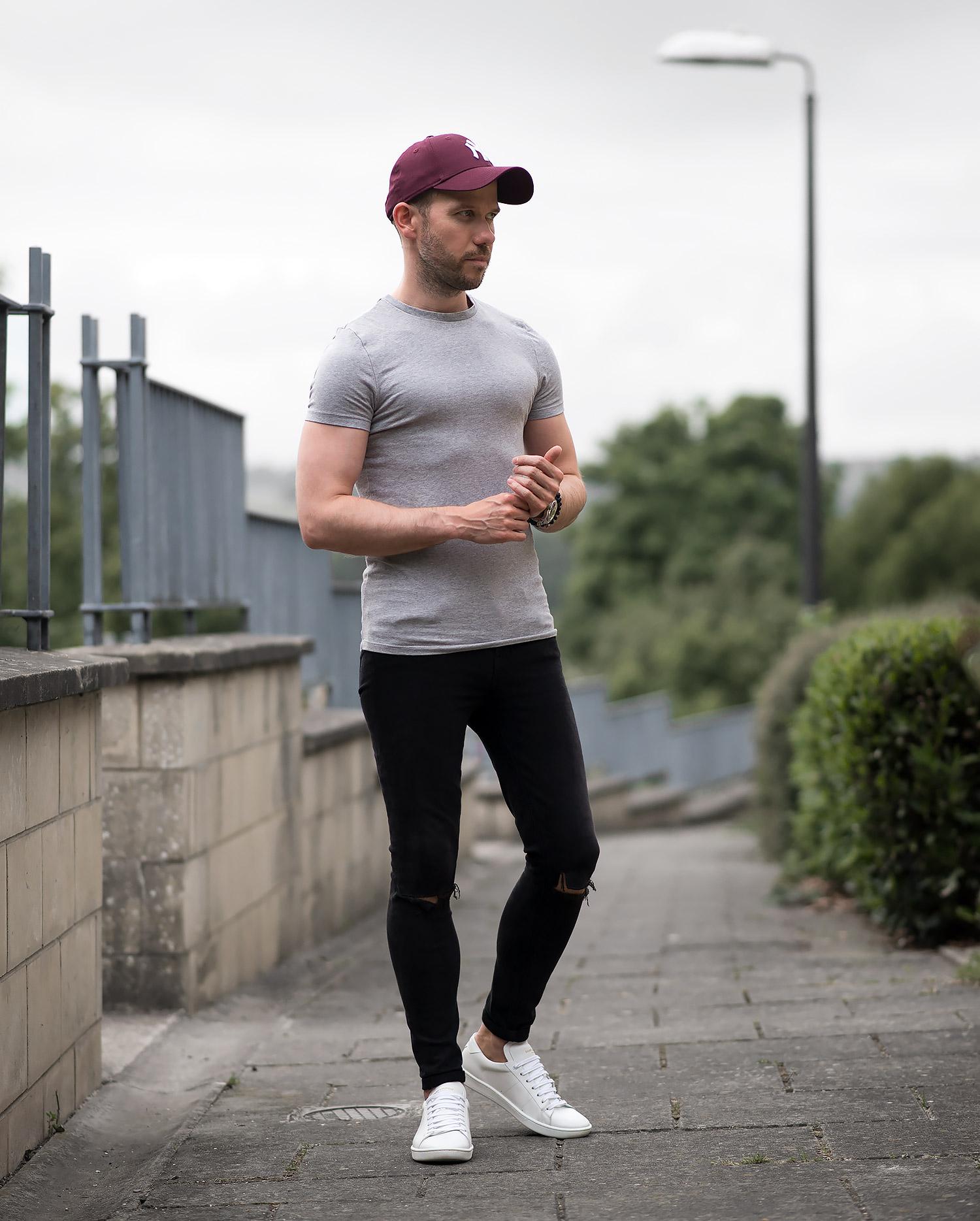 Burgundy Skinny Jeans Mens