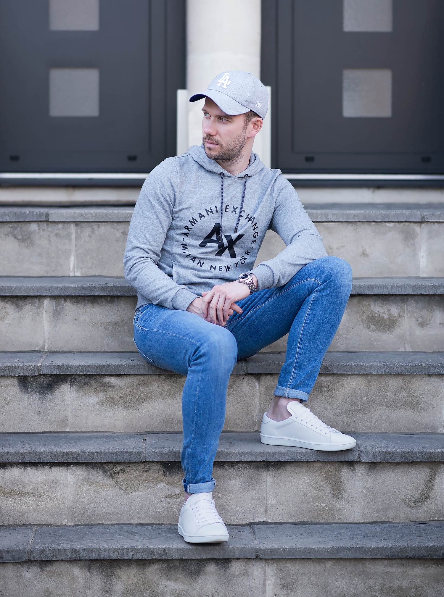 6e40f4397 Armani Exchange Hooded Sweatshirt And Skinny Jeans Outfit | Your ...