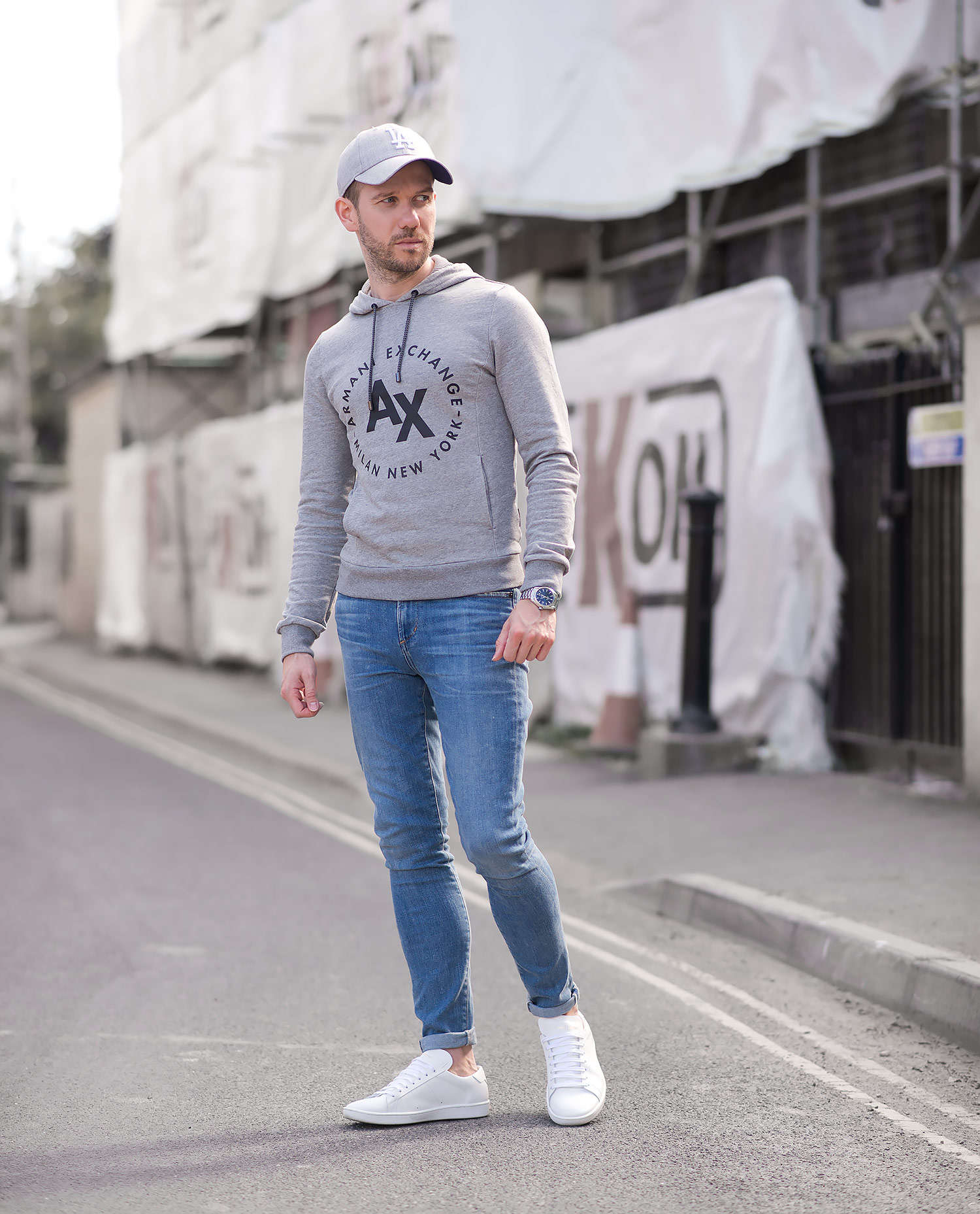 outlet store c1865 391d0 Armani Exchange Hooded Sweatshirt And Skinny Jeans Outfit ...