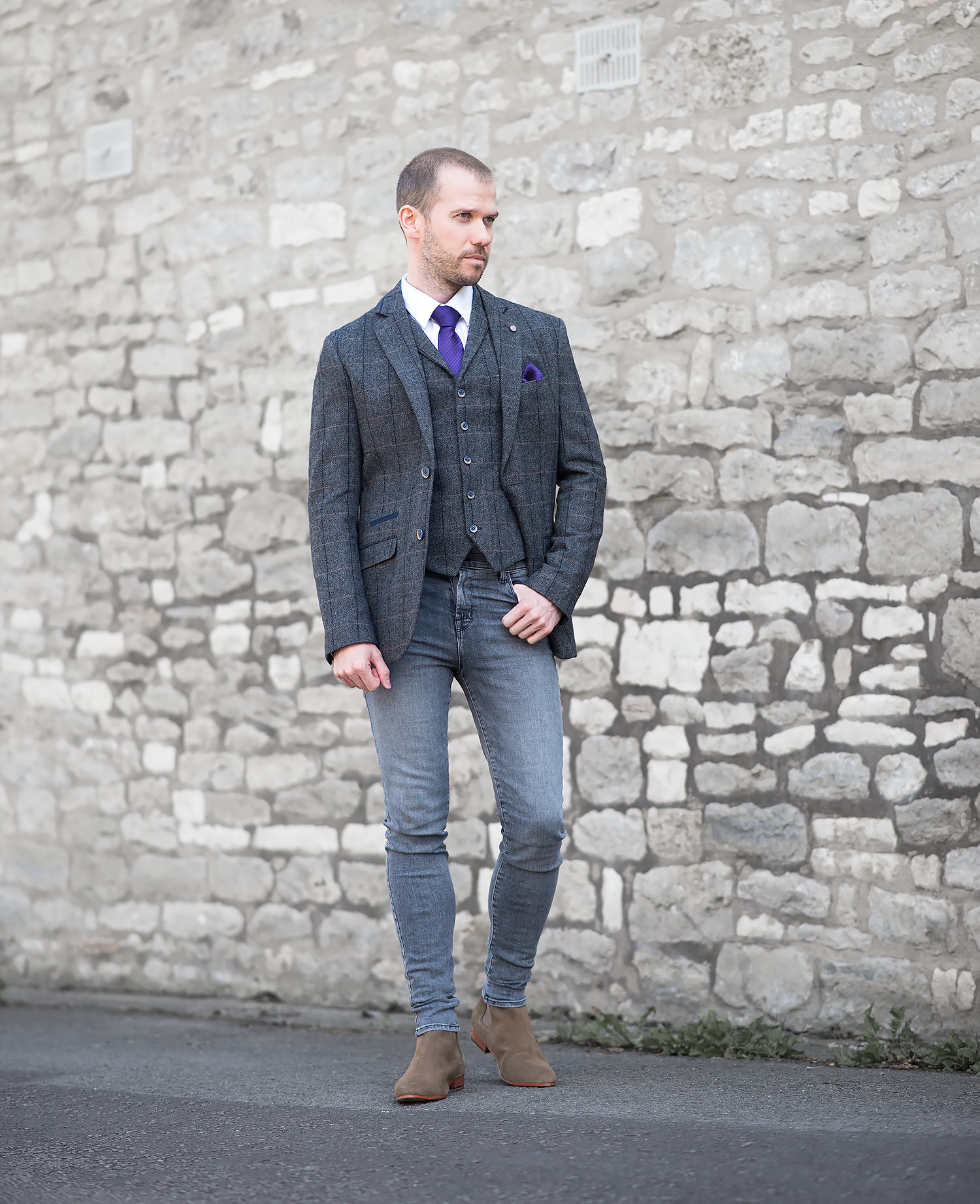 bc3f33672c9 Tweed Suit With J Brand Skinny Jeans Outfit   Your Average Guy