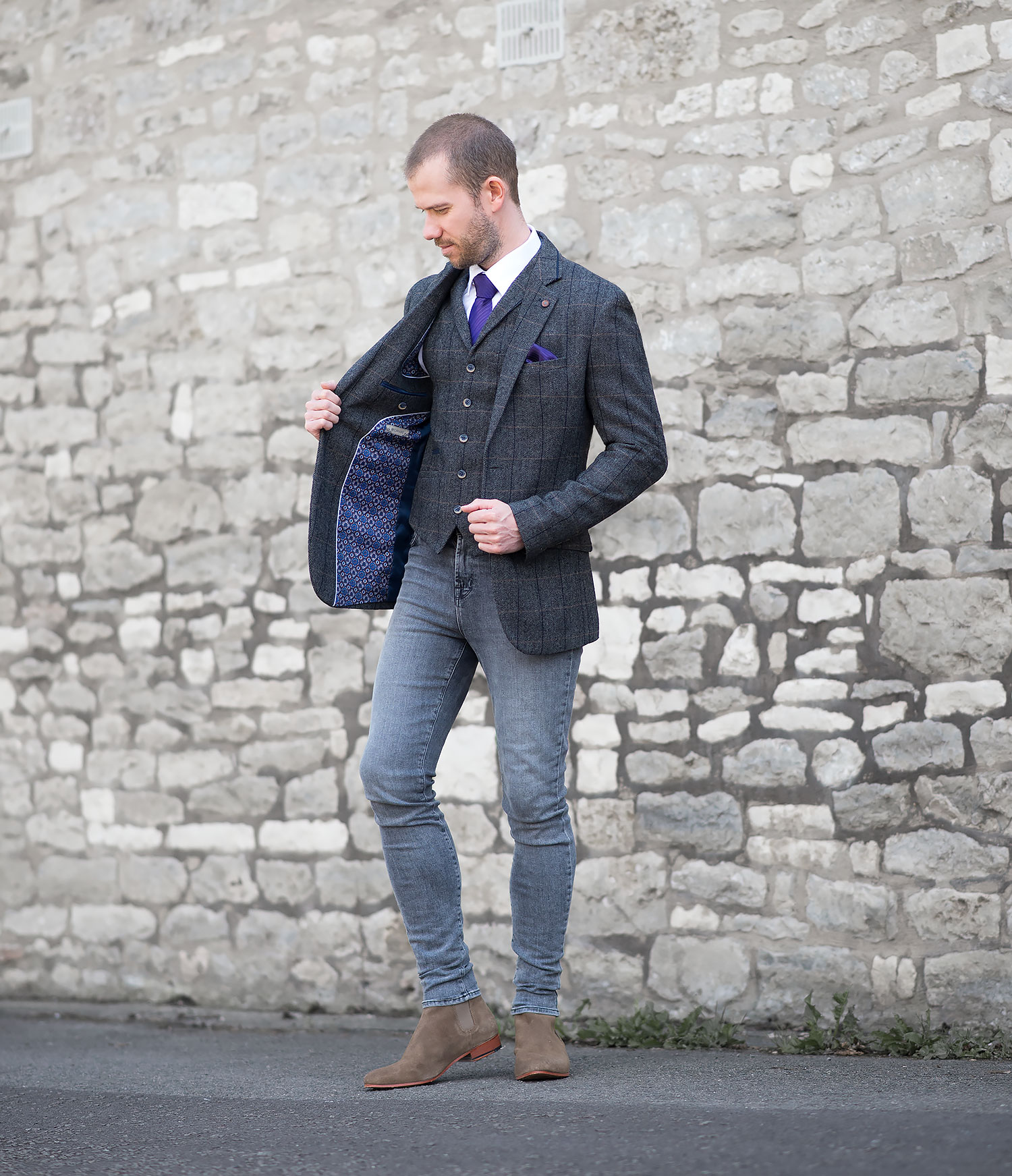 Tweed Suit With J Brand Skinny Jeans Outfit | Your Average Guy