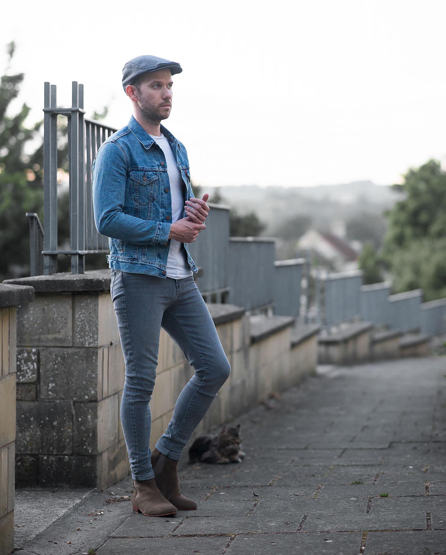Mens White Levi Jeans