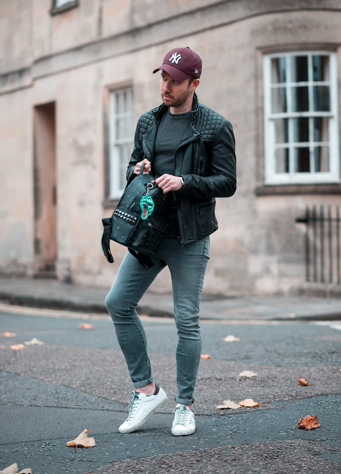Allsaints Cargo Leather Jacket and MCM Backpack Outfit Combination