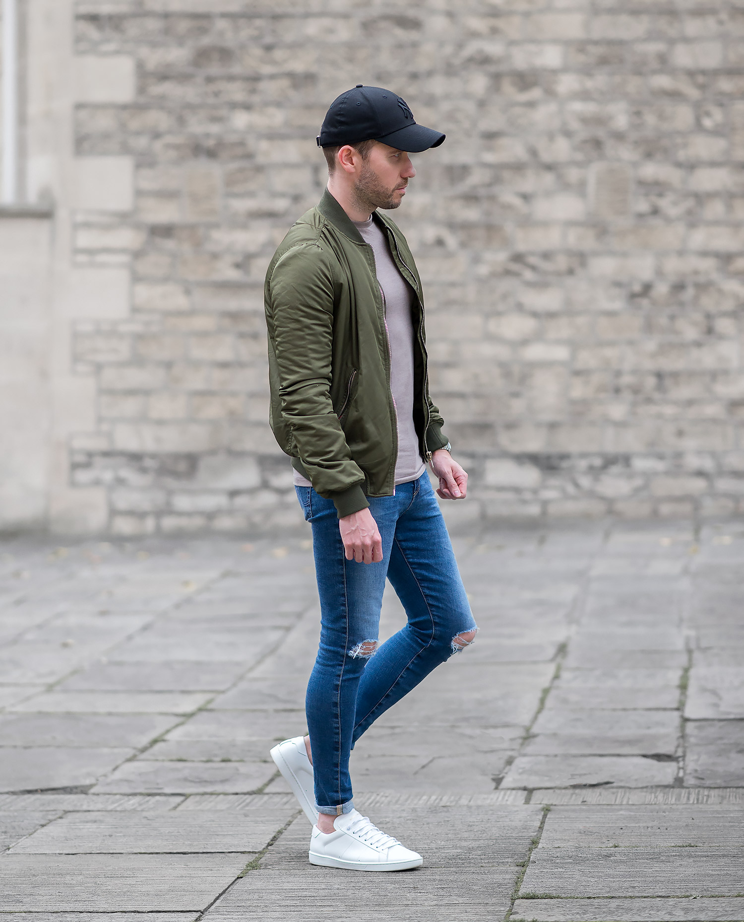 621e9f7e Mens-Fashion-Blogger-Topshop-Green-Bomber-Jacket-AG-Skinny-Jeans-Outfit