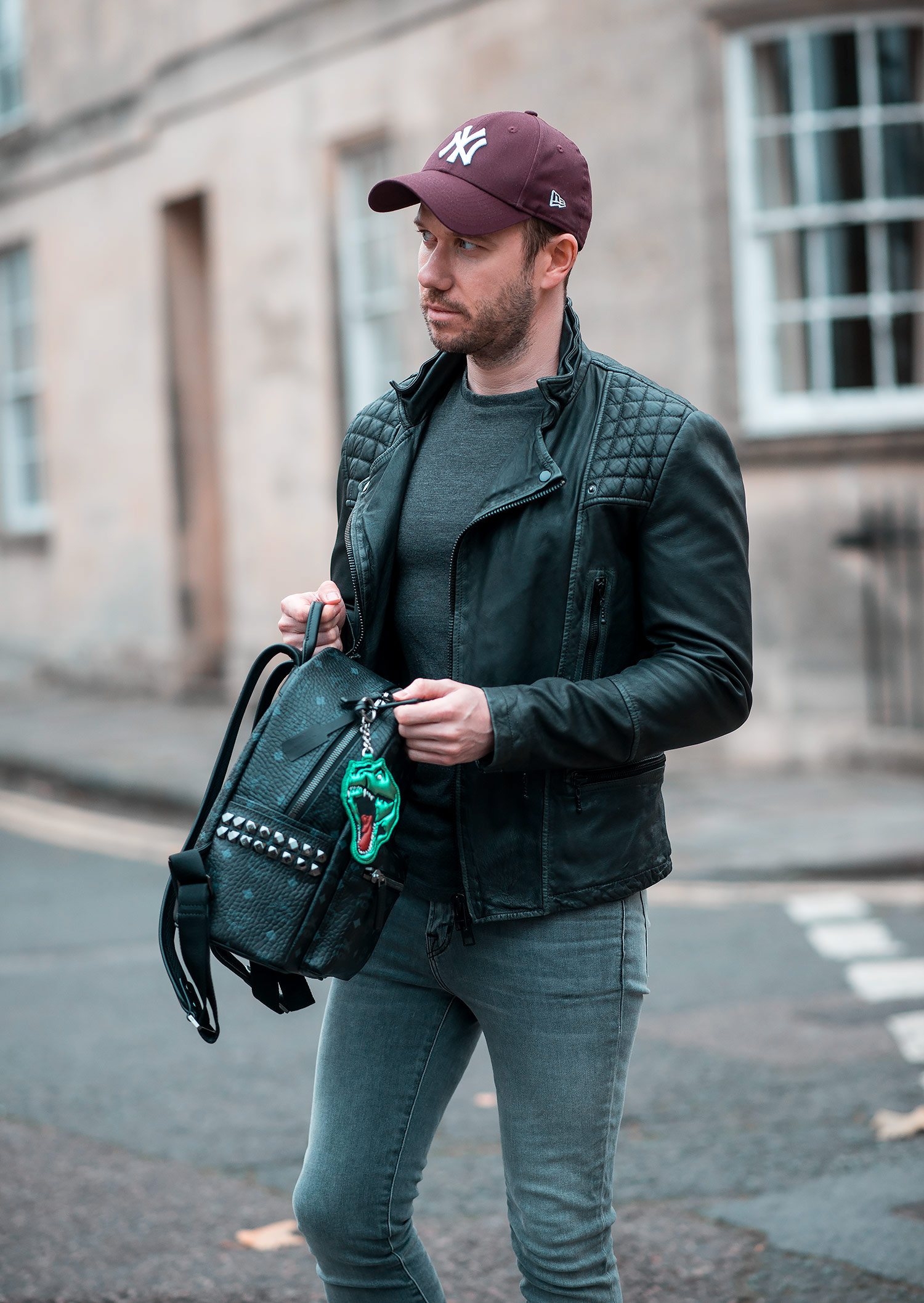 Allsaints Cargo Leather Jacket And Mcm Backpack Outfit