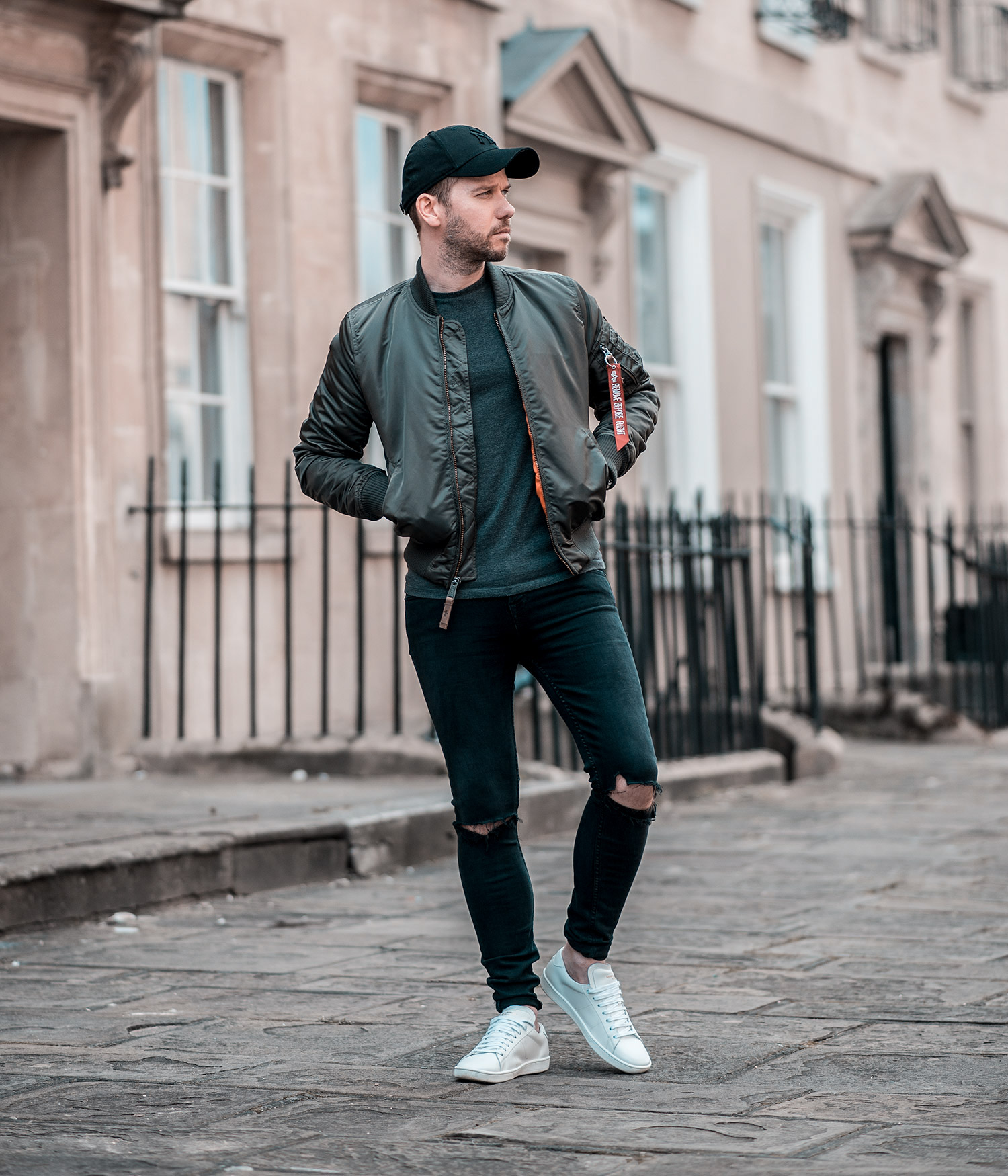 Alpha Industries Replica Grey Bomber Jacket Outfit