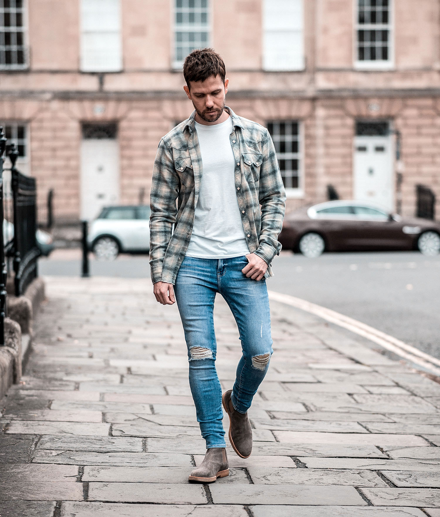 AllSaints Cowboy Check Shirt And Boots Outfit | Your Average Guy