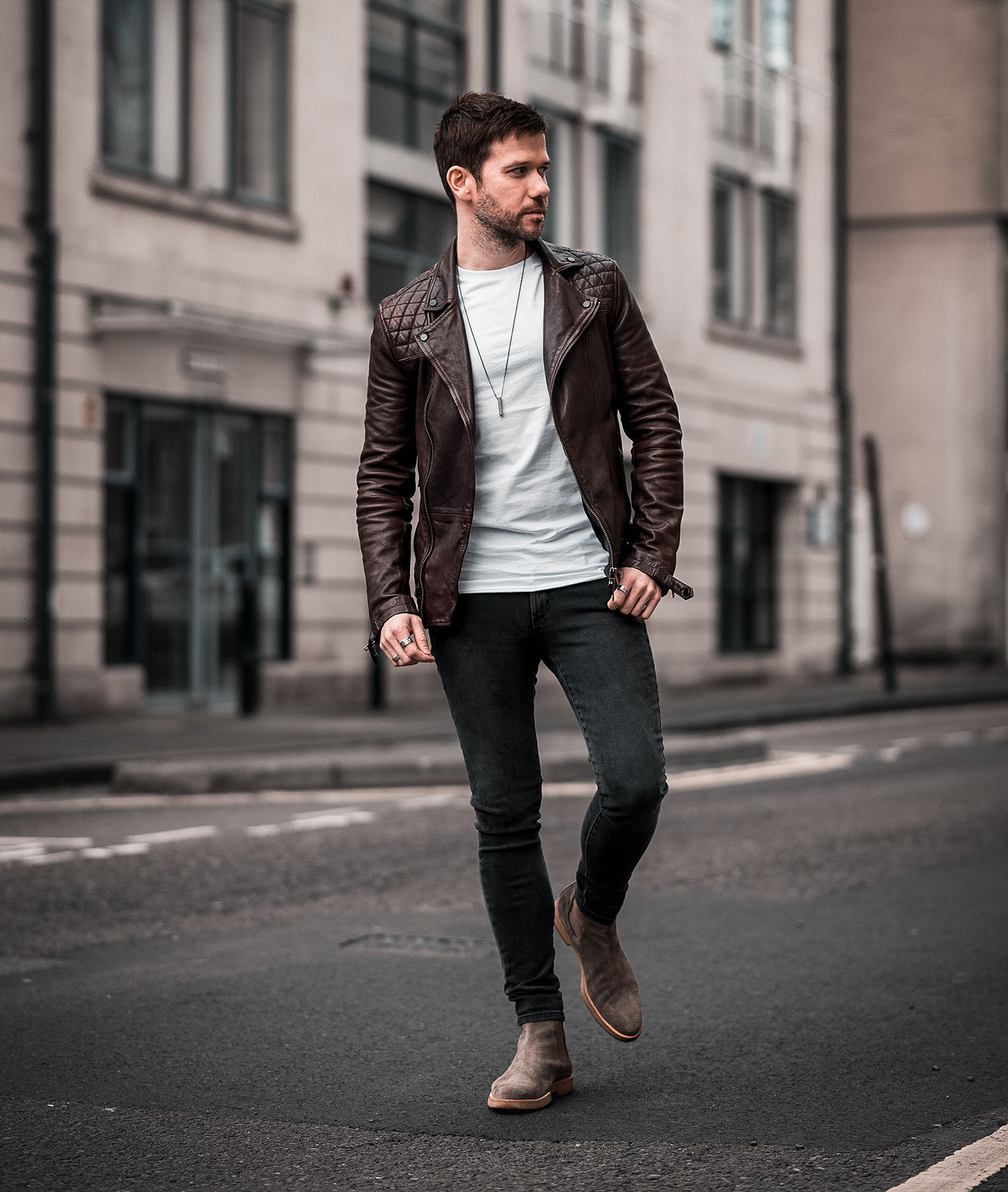 Allsaints Conroy Burgundy Leather Jacket Outfit Your Average Guy